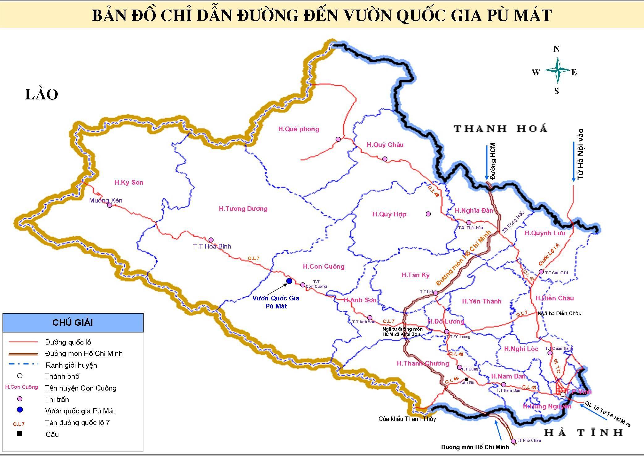 Vị trí địa lý vườn quốc gia Pu Mát