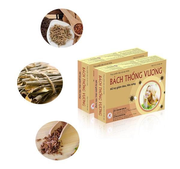 Bách Thống Vương chứa thành phần từ nhiều loại thảo dược thiên nhiên giúp giảm đau, tiêu sưng hiệu quả