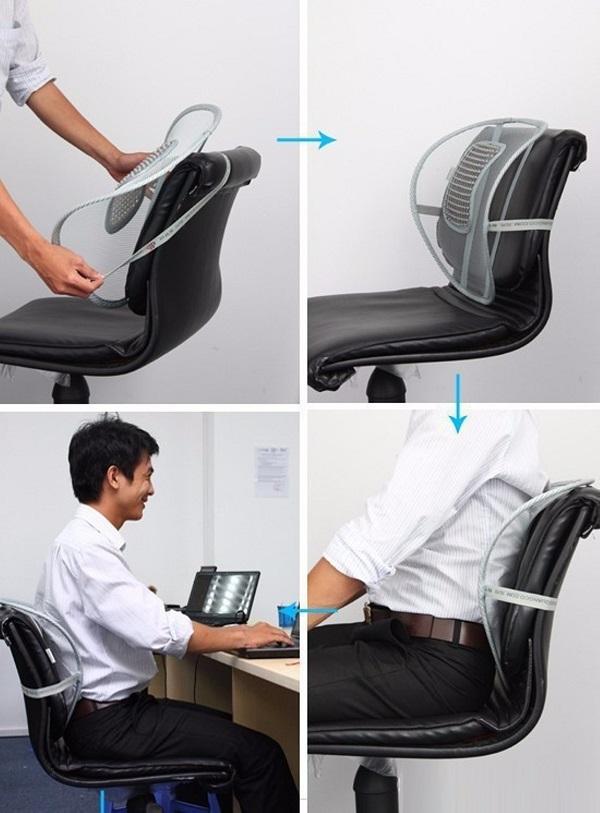 cách dùng tấm lưới tựa lưng ghế văn phòng