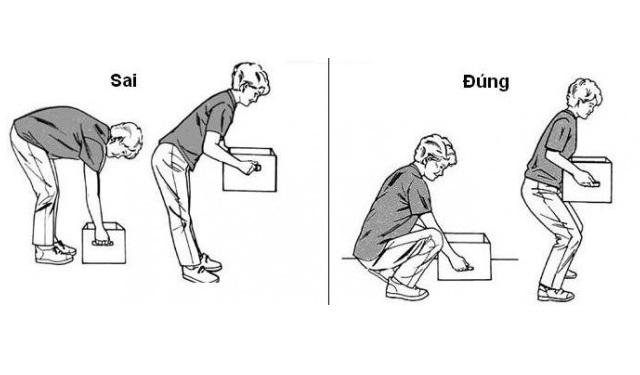 đau lưng do bê vật nặng
